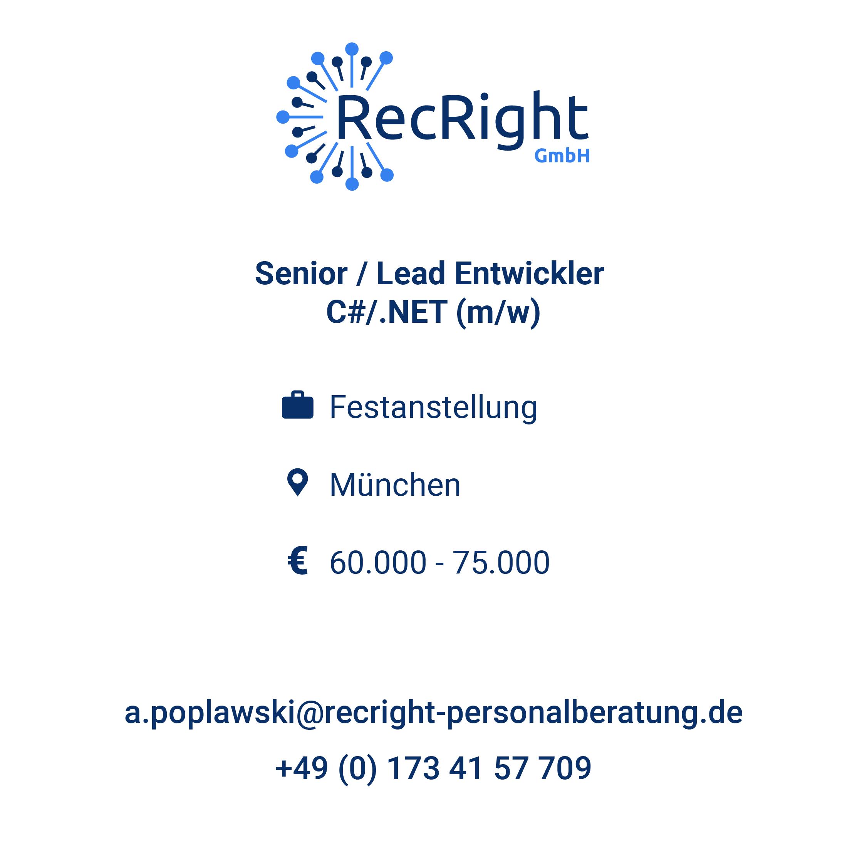 Senior / Lead Entwickler C#/.NET (m/w/d) in München