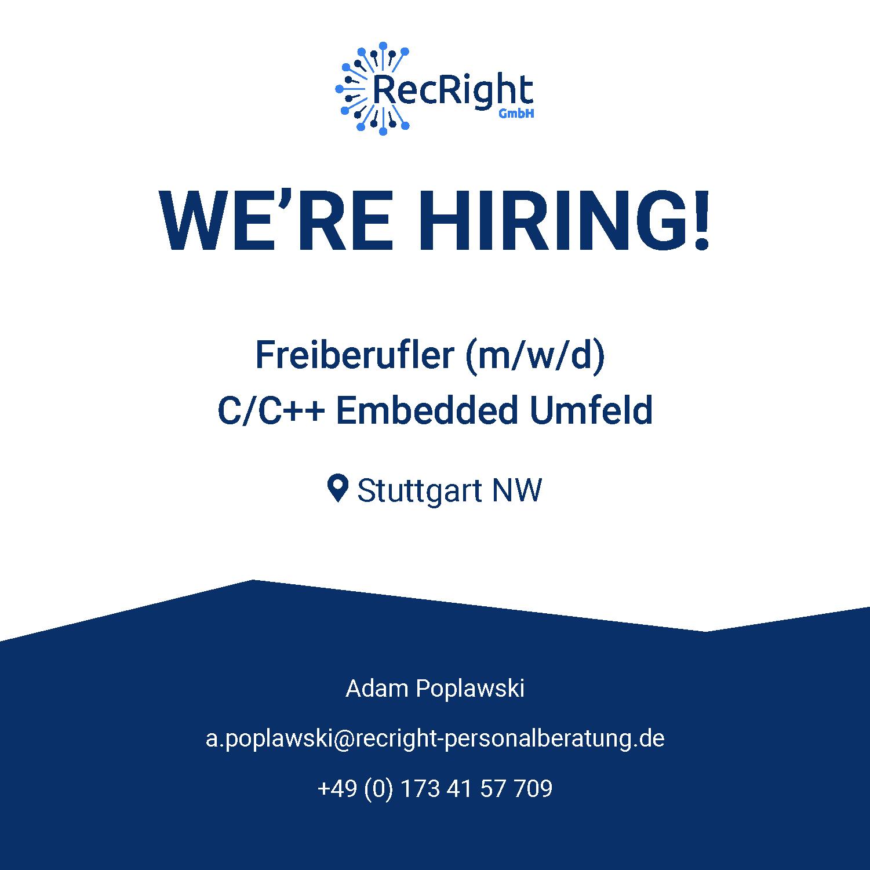 Freiberufler Embedded-Umfeld C C++ Stuttgart NW ab sofort