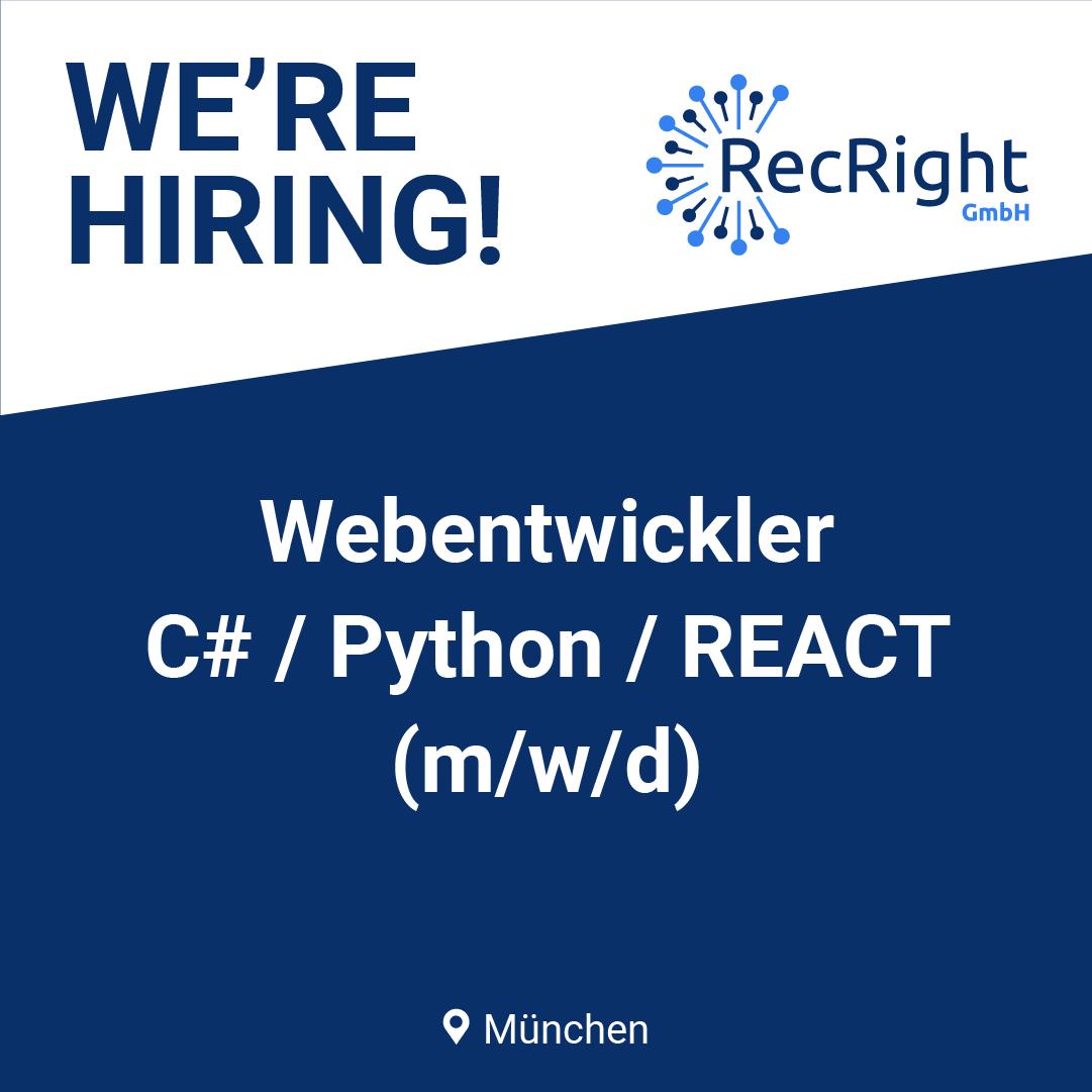 Webentwickler C# / Python / REACT (m/w/d)